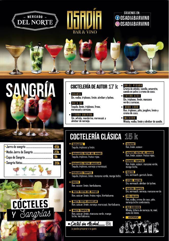Carta Osadia Bar y Vinos Mercado del Norte